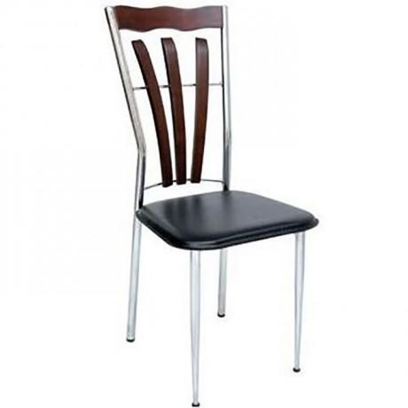 Krom Kaplı Siyah Fontlu Metal Sandalye - ams94