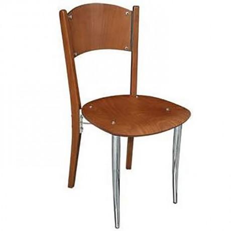 Sırtı Kontralı Ceviz Boyalı Metal Sandalye - ams80