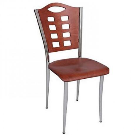 Sırtı Kontralı Krom Metal Sandalye - ams79