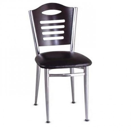 Wenge Wooden Chrome Coated Chair - amp605