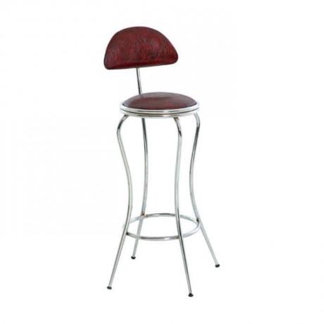 Ahtapot Formlu Kahverengi Deri Döşemeli Krom Ayaklı Bar Sandalyesi - tcs26