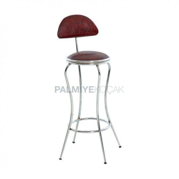 Ahtapot Formlu Kahverengi Deri Döşemeli Krom Ayaklı Bar Sandalyesi