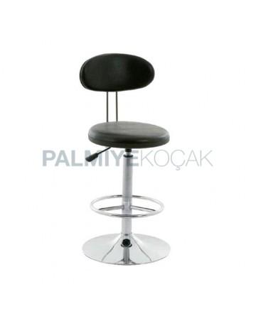 Shock Cbsorber Chrome Leg Black Leather Upholstered Metal Bar Chair