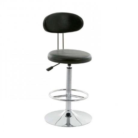 Shock Cbsorber Chrome Leg Black Leather Upholstered Metal Bar Chair - tcs16
