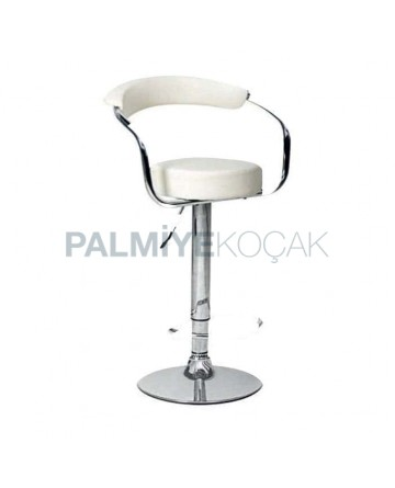White Leather Upholstered Shock Absorber Metal Bar Chair