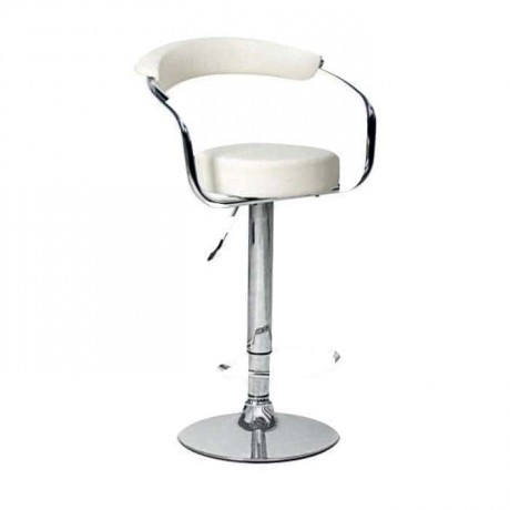 White Leather Upholstered Shock Absorber Metal Bar Chair - prs01
