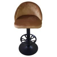 Hardal Renkli Kumaş Döşemeli Metal Bar Sandalye