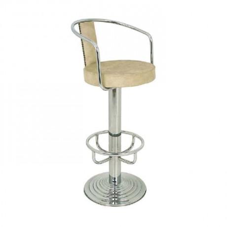 Bej Deri Döşemeli Krom Bar Sandalyesi - mbs01