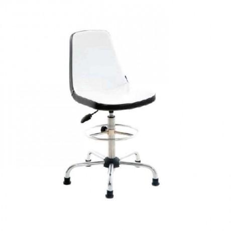 Beyaz Derili Amortisörlü Krom Bar Sandalyesi - tcs07