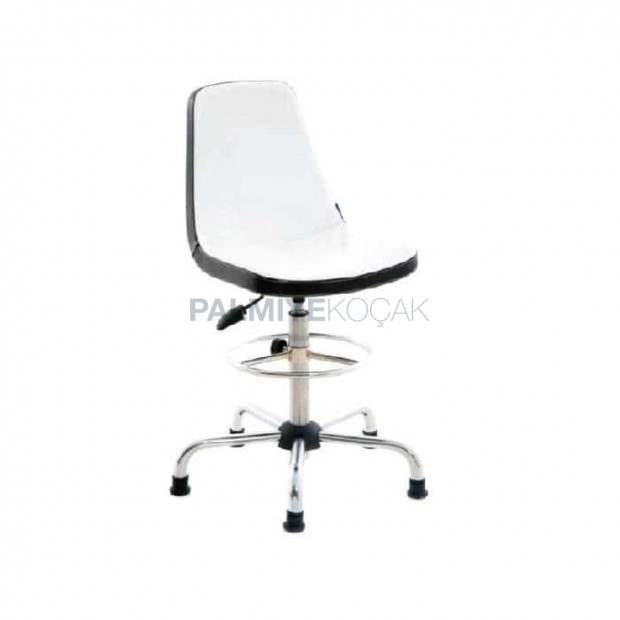White Leather Shock Absorber Chrome Bar Chair