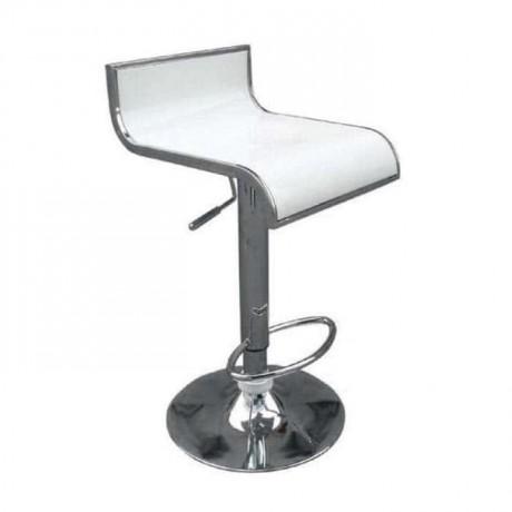 Beyaz Fiberli Krom Ayaklı Metal Bar Sandalyesi - prs10