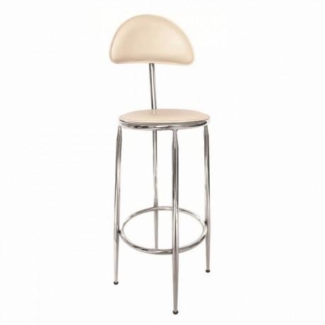 Beyaz Suni Deri Döşemeli Bar Taburesi Bar Sandalyesi - mbs42