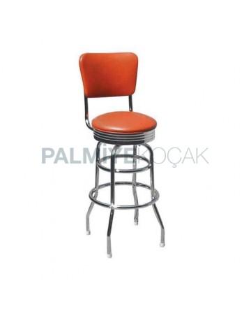 Çemberli Krom Yüksek Bar Sandalyesi