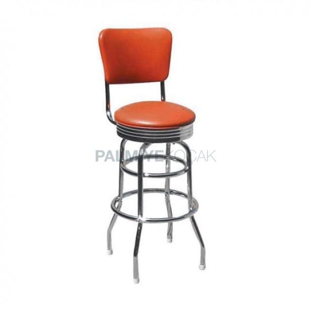 Circular Chrome High Bar Chair