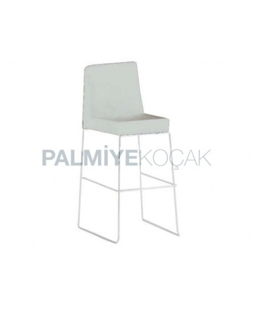 Çubuk Paslanmaz Ayaklı Metal Krem Bar Sandalyesi