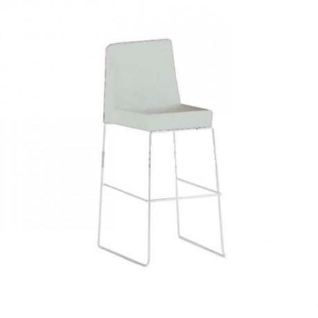 Çubuk Paslanmaz Ayaklı Metal Krem Bar Sandalyesi - mds16