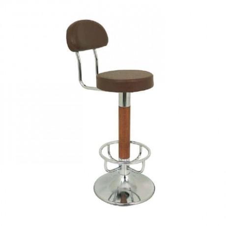 Kahve Kumaşlı Ahşap Ayaklı Krom Bar Sandalyesi - mbs19