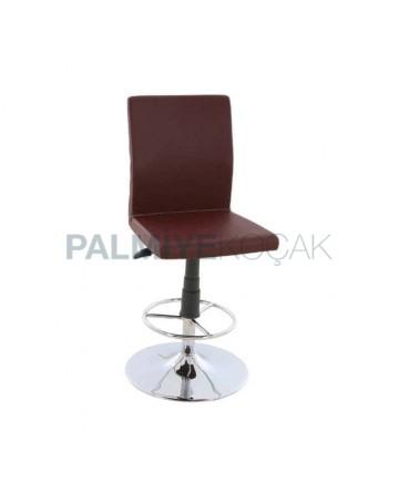 Brown Leather Upholstered Chrome Leg Polyurethane Sponge Metal Bar Stool