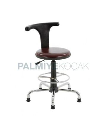 Brown Leather Chrome Star Stable Leg Metal Bar Chair