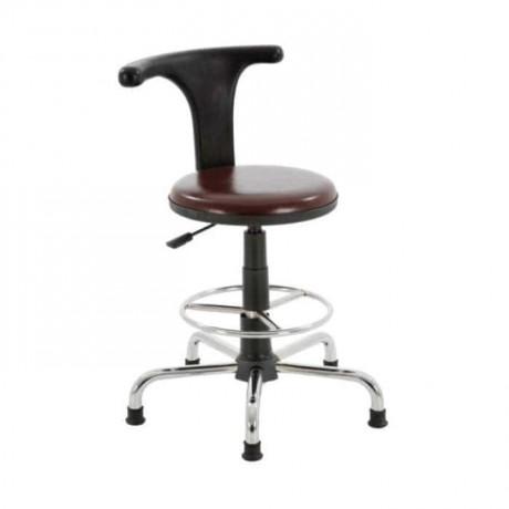 Kahverengi Derili Krom Yıldız Sabit Ayaklı Metal Bar Sandalyesi - tcs13