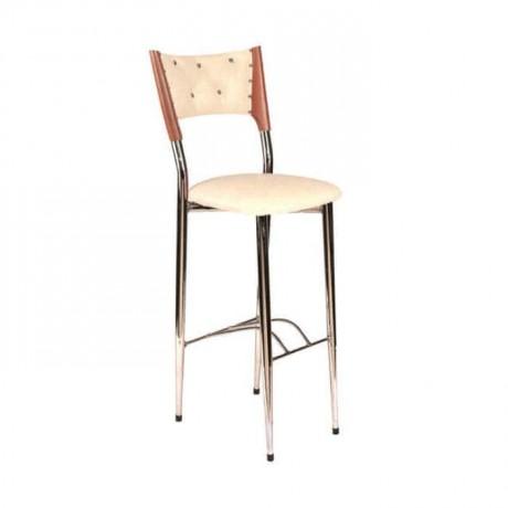 Kapitoneli Krom Mutfak Tezgahı Bar Sandalyesi - mbs35