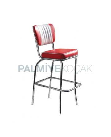 Red and White Leather Upholstered Chrome Bar Chair