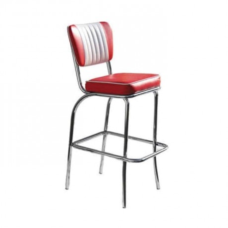 Red and White Leather Upholstered Chrome Bar Chair - mbs30