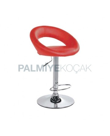 Red Leather Upholstered Bar Chair