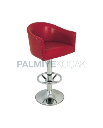 Red Leather Upholstered Chrome Leg Bar Chair