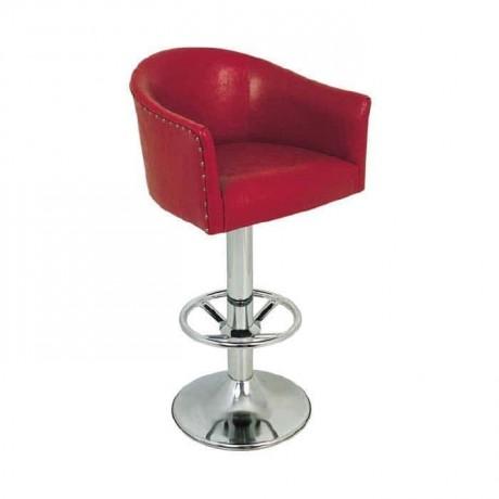 Kırmızı Deri Döşemeli Krom Ayaklı Bar Sandalyesi - mbs02