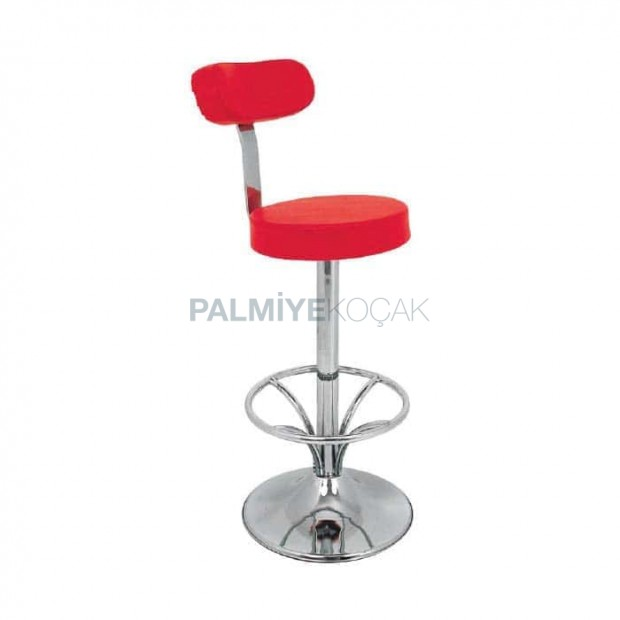 Red Leather Upholstered Chrome Leg Bar Chair