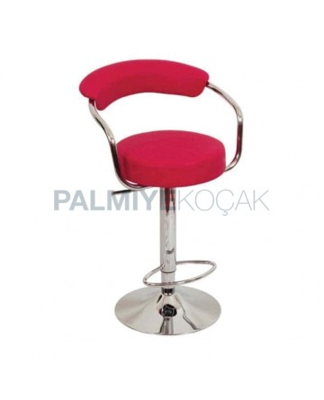 Red Leather Upholstered Metal Leg Bar Chair
