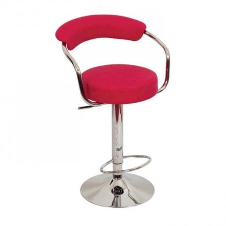 Red Leather Upholstered Metal Leg Bar Chair - prs04