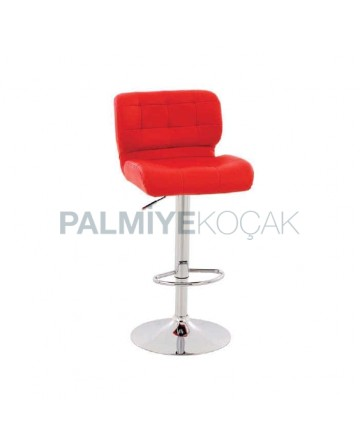 Red Leather Upholstered with round chrome legs