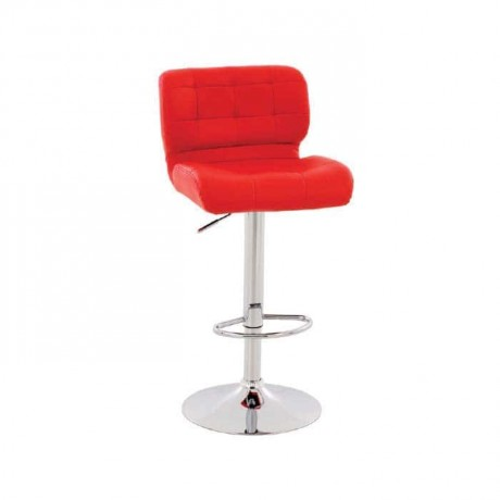 Red Leather Upholstered with round chrome legs - tcs10