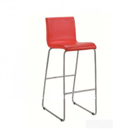 Red Leather Metal Leg Kitchen Bar Chair - mds11