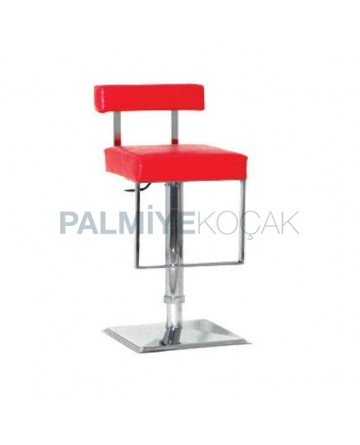 Red Leather Stainless Steel Metal Bar Chair