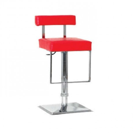 Red Leather Stainless Steel Metal Bar Chair - mds04
