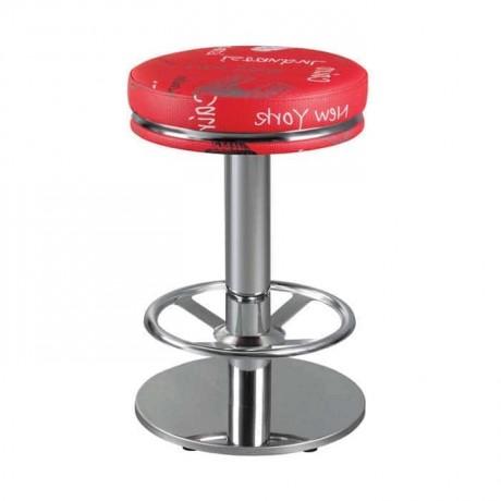 Kırmızı Desenli Derili Paslanmaz Ayaklı Yüksek Bar Taburesi - mbs15