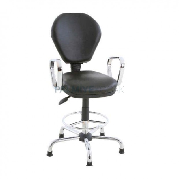 Black Leather Upholstered Chair With Armrest