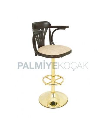 Yellow Upholstered Leg Thonet Bar Chair