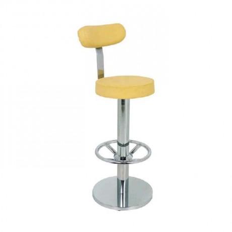 Krem Derili Paslanmaz Ayaklı Mutfak Bar Sandalyesi - mbs20