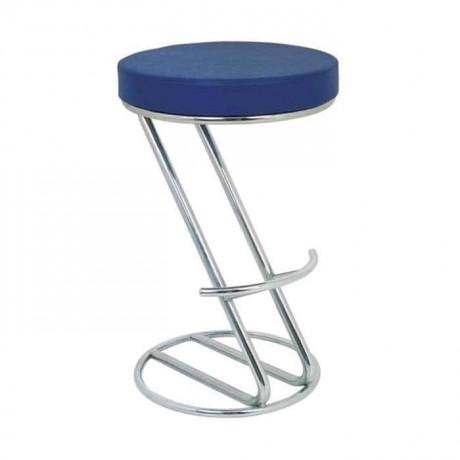 Mavi Deri Döşemeli Mutfak Tezgahı Bar Sandalyesi - mbs13
