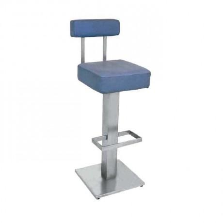 Mavi Deri Döşemeli Paslanmaz Kare Ayaklı Yüksek Bar Sandalyesi - mbs22