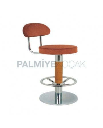 Stainless Steel Base Wooden Leg Bar Chair