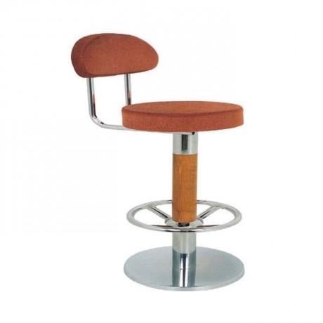 Paslanmaz Tabanlı Ahşap Ayaklı Bar Sandalyesi - mbs17