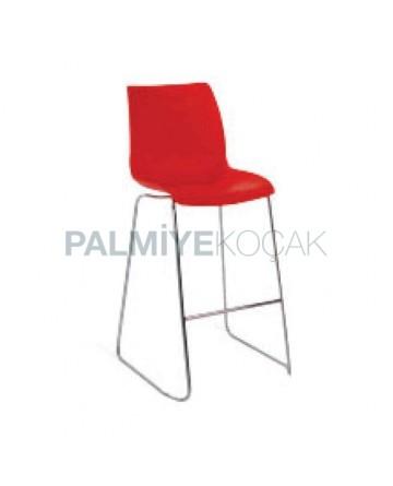Plastik Kırmızı Oturaklı Çubuk Paslanmaz Ayaklı Bar Sandalyesi