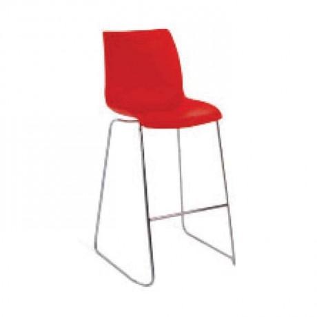 Plastik Kırmızı Oturaklı Çubuk Paslanmaz Ayaklı Bar Sandalyesi - mds13