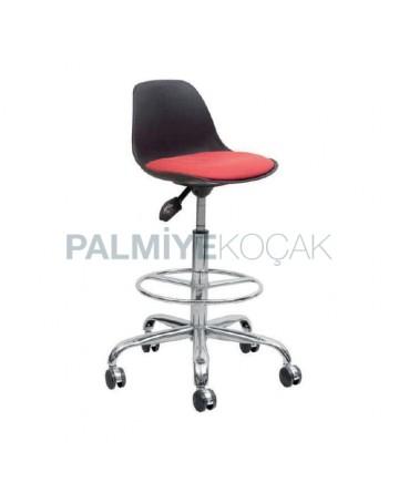 Plastic Seated Chromium Leg Wheel Bar Chair