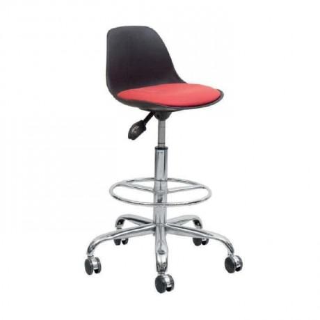 Plastik Oturaklı Krom Ayaklı Tekerlekli Bar Sandalyesi - tcs11